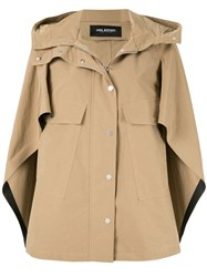 Neil Barrett Hooded Cape Jacket Brown