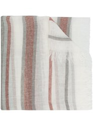 Peserico Striped Frayed Scarf Multicolour