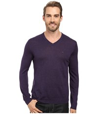 Calvin Klein Merino Moon And Tipped V Neck Sweater Black Amet Mouline Men's Sweater