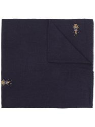 Janavi Embellished Knitted Scarf Blue