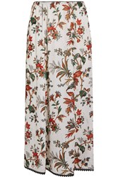 Mcq By Alexander Mcqueen Lace Trimmed Floral Print Chiffon Midi Skirt Ivory