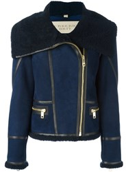 Burberry Zip Up Wide Collar Jacket Blue