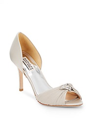 Badgley Mischka Jennifer Rhinestone Embellished Peep Toe D'orsay Pumps Silver Satin