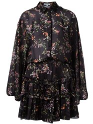 Alexis Floral Print Ruffled Dress Black