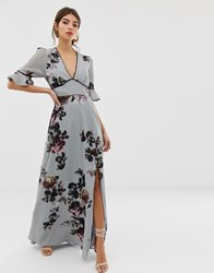 Hope And Ivy Floral Short Sleeve Fluted Arm Maxi Dress Grey