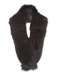 Jane Norman Black Faux Fur Solid Scarf
