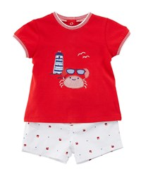 Mayoral Short Sleeve Crab T Shirt W Matching Shorts Size 2 12 Months Red