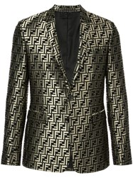 Fendi Metallic Monogram Blazer Gold
