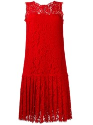 Ermanno Scervino Pleated Lace Dress Red