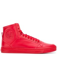 Versace Medusa Hi Top Sneakers Men Calf Leather Leather Rubber 44 Red