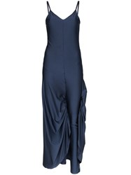 Y Project Legging Detail Spaghetti Strap Maxi Dress Blue