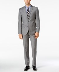 Vince Camuto Men's Slim Fit Medium Gray Flannel Suit Mid Grey
