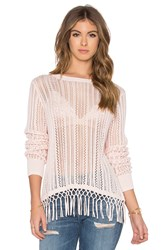 Autumn Cashmere Fringe Crew Neck Sweater Pink