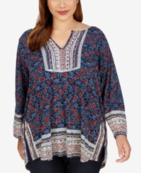 Lucky Brand Trendy Plus Size Floral Print Peasant Top Navy Multi