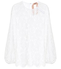 N 21 Lace Blouson Sleeve Top White