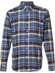 Naked And Famous Button Down Plaid Shirt Blue