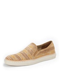 Frye Gates Print Suede Slip On Sneaker Light Taupe