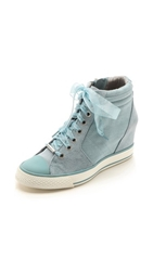 Dkny Cindy Canvas Wedge Sneakers Ash Blue