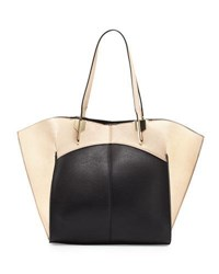 Neiman Marcus Luna Colorblock Geo Tote Bag White Blue