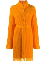 Kenzo Belted Long Line Cardigan Orange