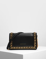 Charles And Keith Chain Rimmed Clutch Black