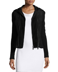 Elie Tahari Yasmine Fur Trim Hooded Combo Jacket