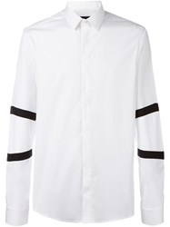 Les Hommes Striped Sleeve Shirt White