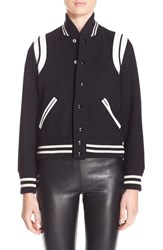 Women's Saint Laurent 'Teddy' Leather Trim Bomber Jacket