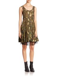 Etro Paisley Fil Coupe Lace Edged Dress Green Multi