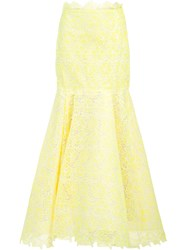 Monique Lhuillier Lace Flared Skirt Yellow Orange