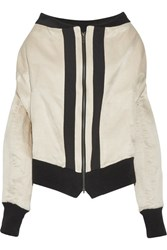 Ann Demeulemeester Grosgrain Trimmed Linen And Silk Blend Bomber Jacket Cream