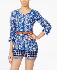 One Hart Juniors' Belted Border Romper Only At Macy's Blue Floral