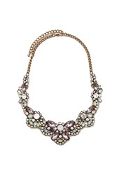 Forever 21 Scalloped Statement Necklace Antique Gold Pink