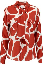 Stella Jean Printed Brushed Silk Shirt Red