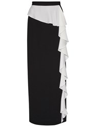 Gina Bacconi Satin Back Crepe Waterfall Frill Maxi Skirt Black Ivory