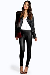 Boohoo Seamed Front Leather Look Legging Black