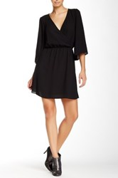 Glam Surplice V Neck Dress Black