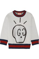 Gucci Metallic Trimmed Printed Neoprene Sweatshirt Light Gray