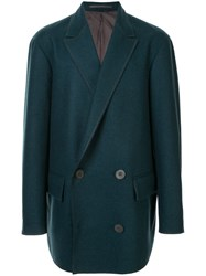 Kolor Double Breasted Fitted Coat Blue