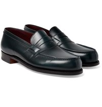 J.M. Weston Leather Penny Loafers Teal