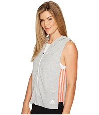 Adidas Show Your Stripes Sleeveless Hoodie Medium Grey Heather Women's Sleeveless Gray
