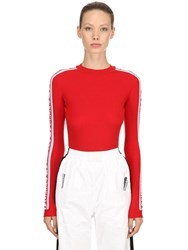 Fiorucci Logo Band Wool Rib Knit Sweater Red