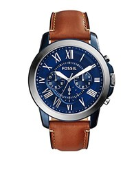 Fossil Grant Blue Ip Stainless Steel Watch Fs5151 Brown