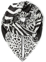 Balmain Animal Print Scarf Black