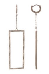Vince Camuto Pave Rectangle Drop Huggie Earrings Metallic