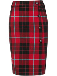 Each X Other Checked Midi Skirt Red