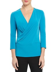 Ellen Tracy Surplice Wrap Top Tuquoise