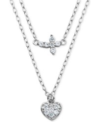 Giani Bernini Cubic Zirconia Cross And Heart Double Layer Pendant Necklace In Sterling Silver Only At Macy's
