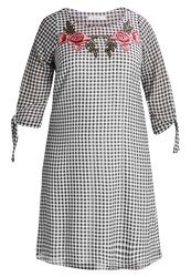 Evans Gingham Tied Sleeve Summer Dress Dark Multi Multicoloured