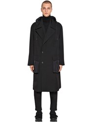 Juun.J Double Breasted Wool And Nylon Coat Black